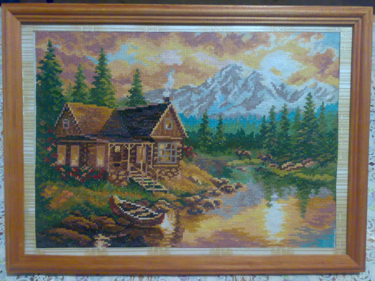Домик у озера вышивка схема