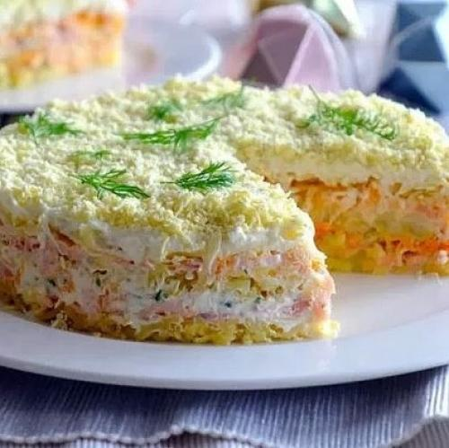 Праздничный салат «Мимоза» с горбушей.