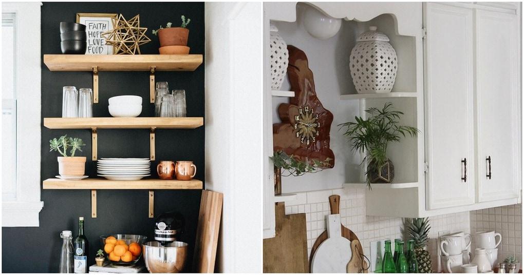 Стильные и функциональные идеи открытых полок на кухне