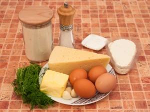 Пирог с сыром и творогом. Ингредиенты