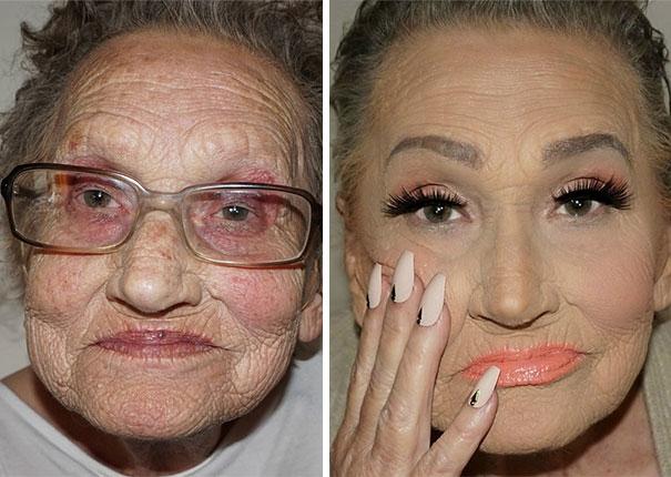 80-летняя бабушка попросила внучку сделать ей макияж и в результате стала Интернет-сенсацией