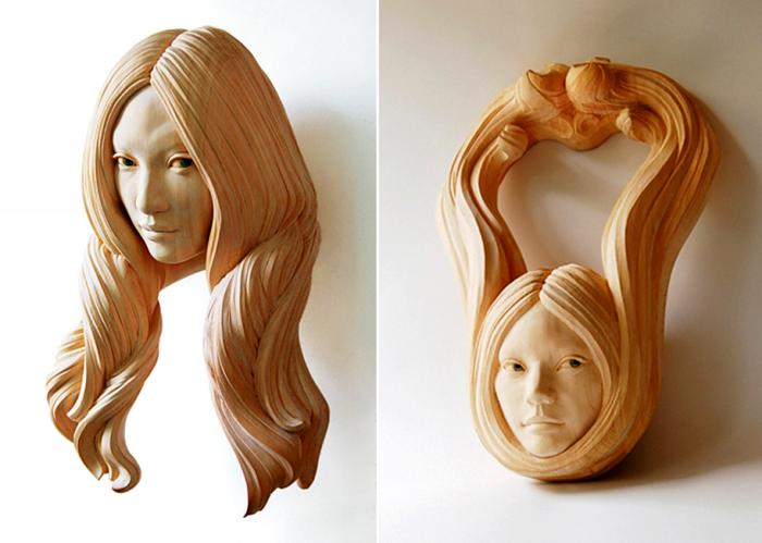 Прически, которым не нужна расческа. Деревянные скульптуры Ясухиро Сакураи (Yasuhiro Sakurai)
