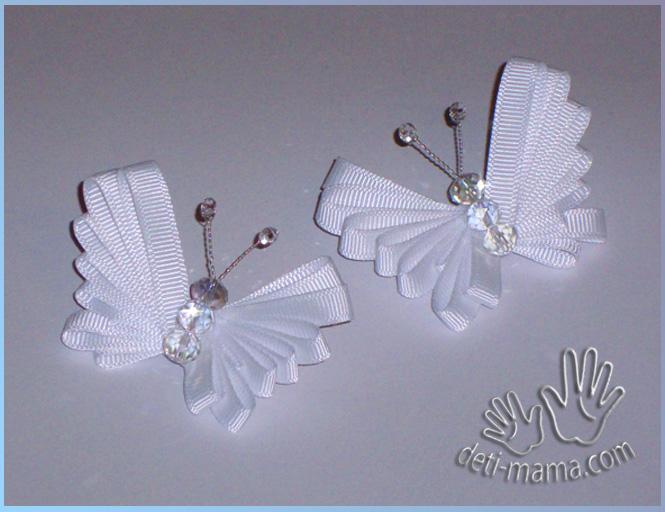 Бабочки из лент - мастер класс