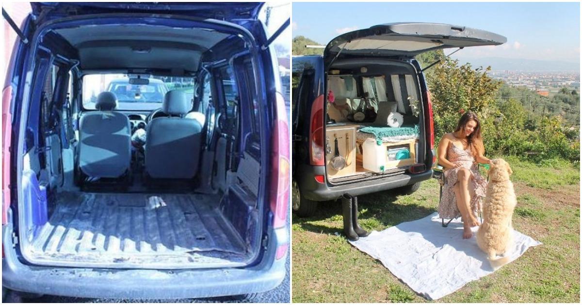 Для свободного путешествия девушка превратила небольшой фургончик в уютную спальню