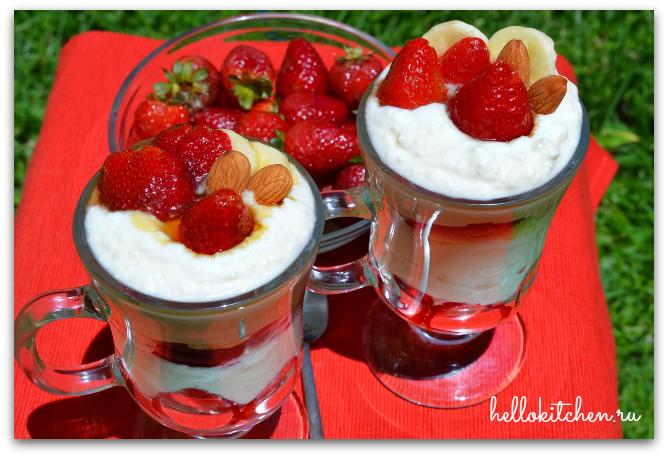 36 Десерт из рикотты и клубники