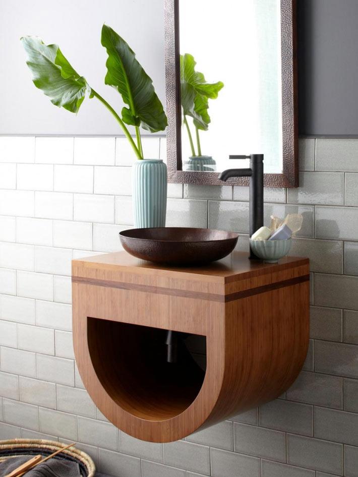 Компактные маленькие раковины в интерьере ванной комнаты