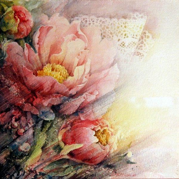 Атласная чаша цветка, в ней нежная тайна сокрыта... Художница Marie-Claire Moudru