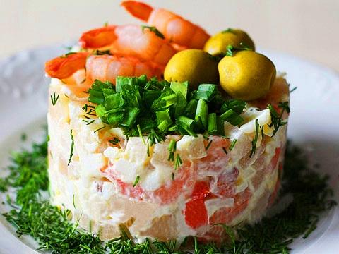Красивые порционные салаты с