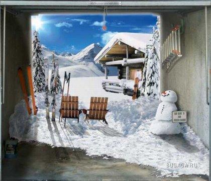 Креативные наклейки на ворота гаража
