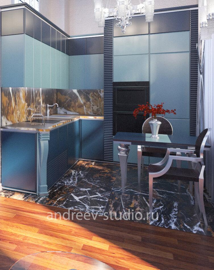 Фартук кухни и столешница могут быть выполнены из натурального мрамора, как на это кухне в стиле Ар Деко (3Д фото авторов).