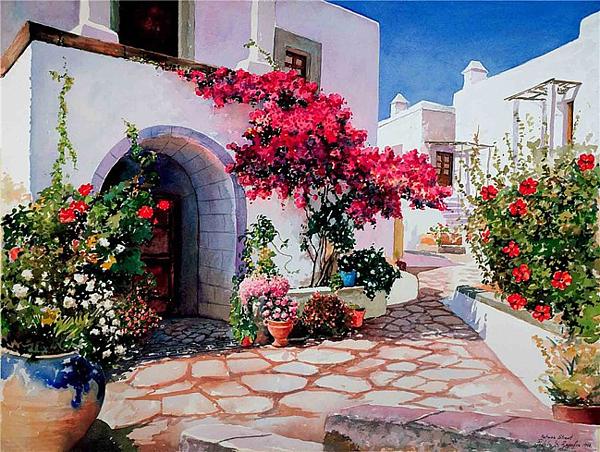 Картины Греции акварелью.