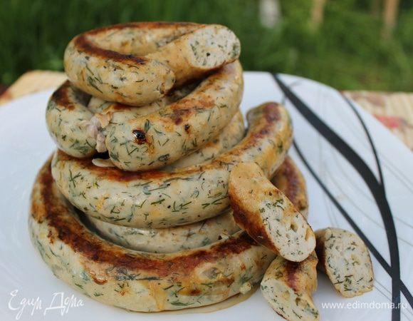 Куриные колбаски с зеленью и сыром для гриля