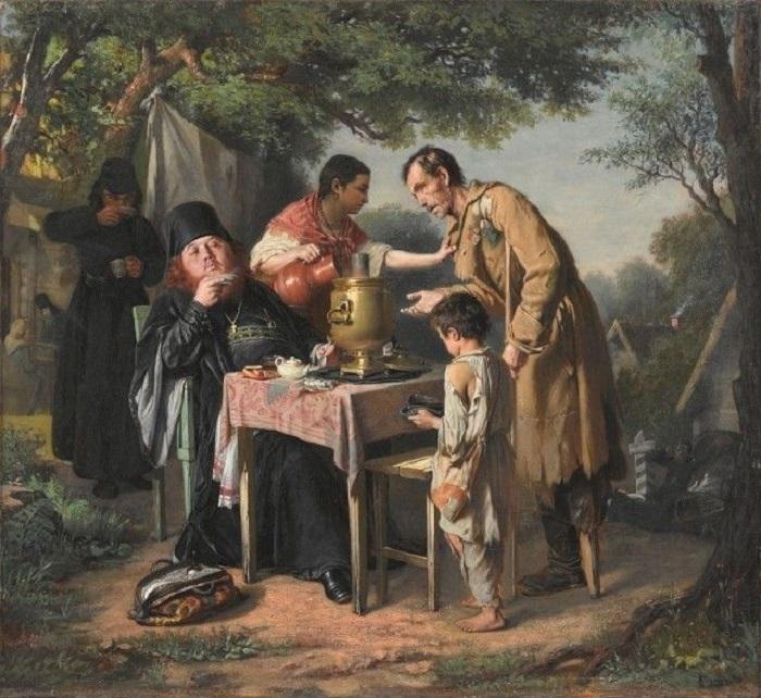 Известное полотно, в котором автор отображает всю сущность взаимоотношений между священнослужителями и простыми людьми.