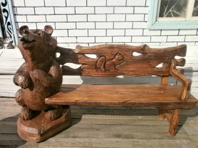 резные скамейки из дерева