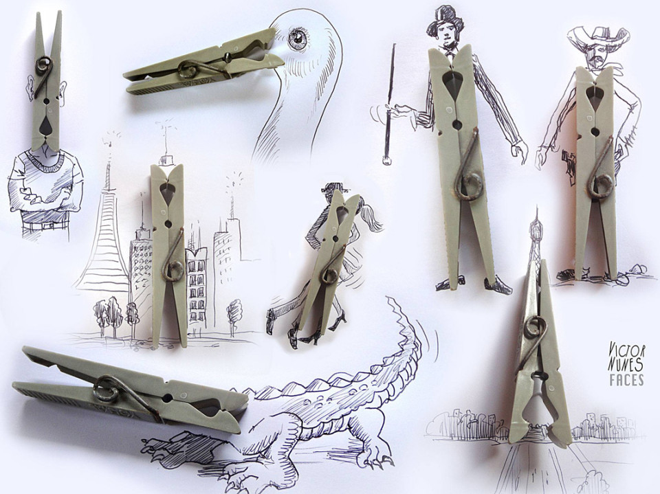 Виктор Нунес - Рисунки из прищепок