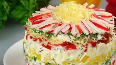 «Хризантема» — рецепт салата с крабовыми палочками