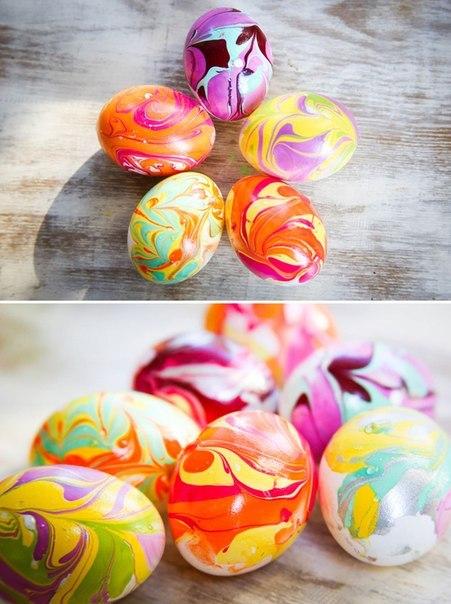 МК в фото - марморная окраска яиц к Пасхе