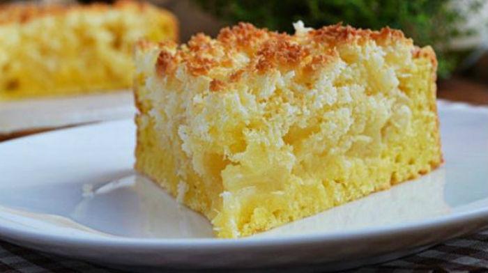 Нежный творожный пирог с яблоками и кокосовой карамелью