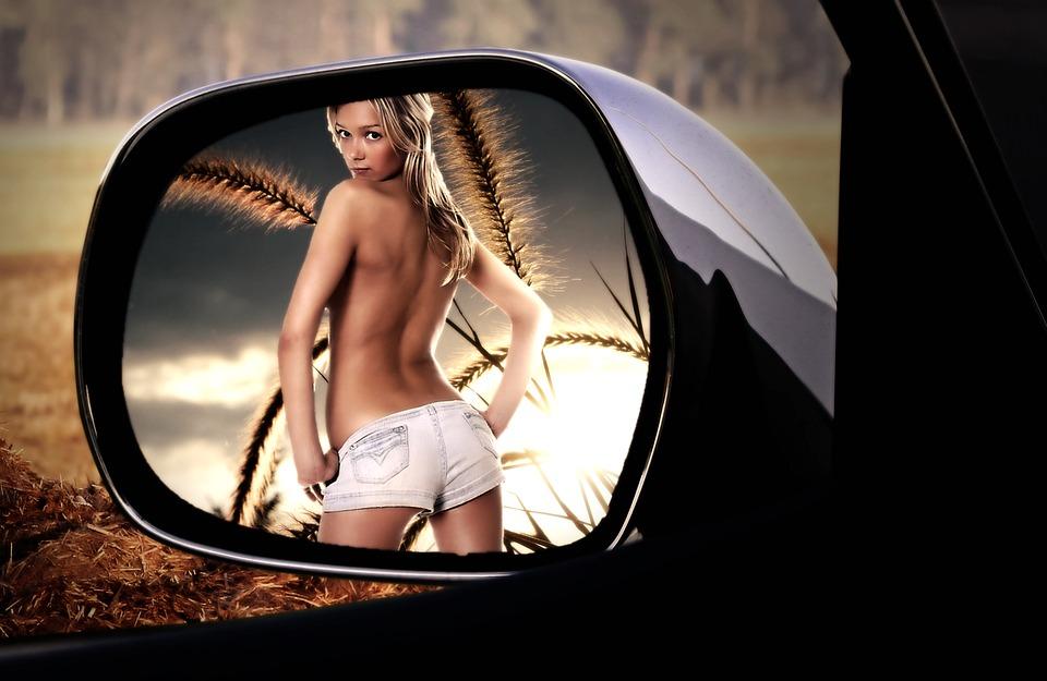 Зеркало Заднего Вида, Обзор, Женщина, Довольно