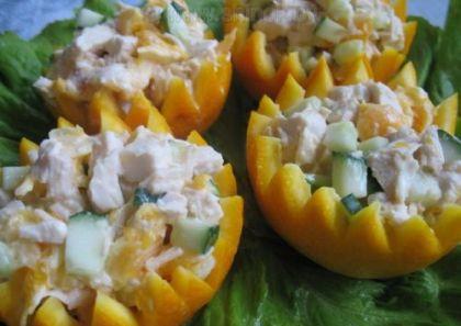 салат, салат в апельсинных чашечках, апельсины, курица