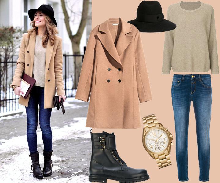 Пальто с джинсами - фото
