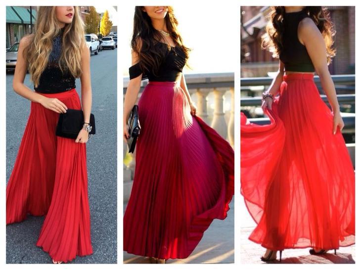 юбка красная плиссе