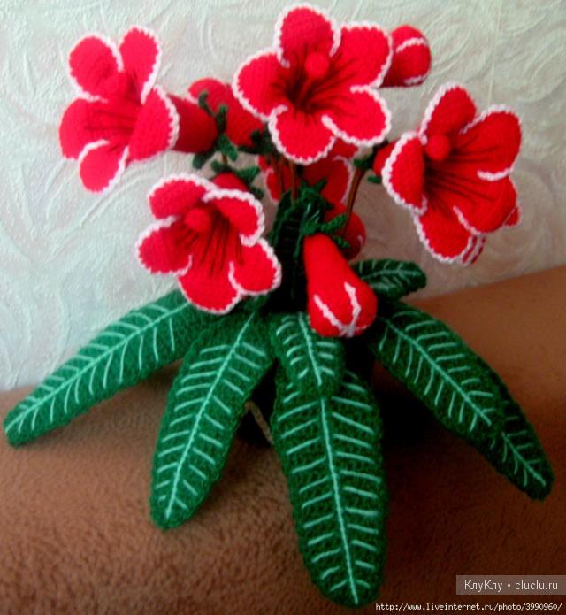 Вязанные цветы крючком