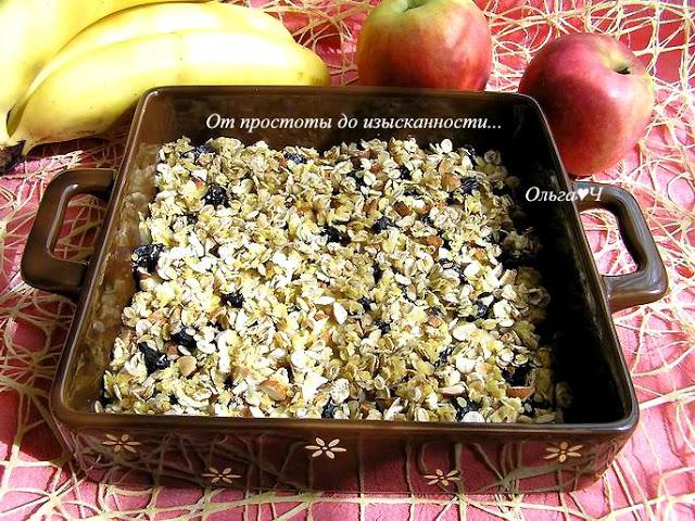 Яблочно-банановый крамбль с мятным сиропом