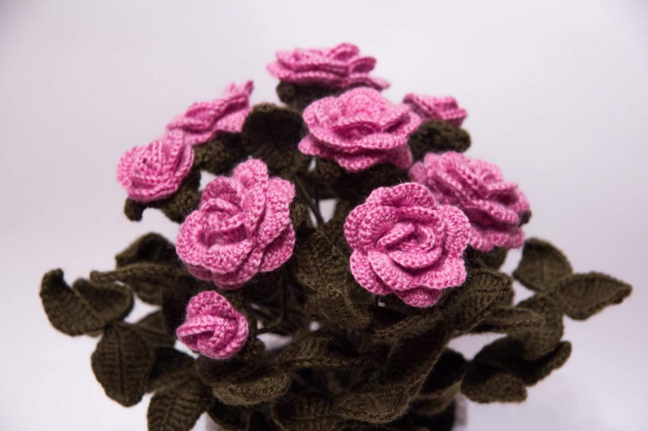 Вязаные цветы крючком схемы для начинающих - вязание 3