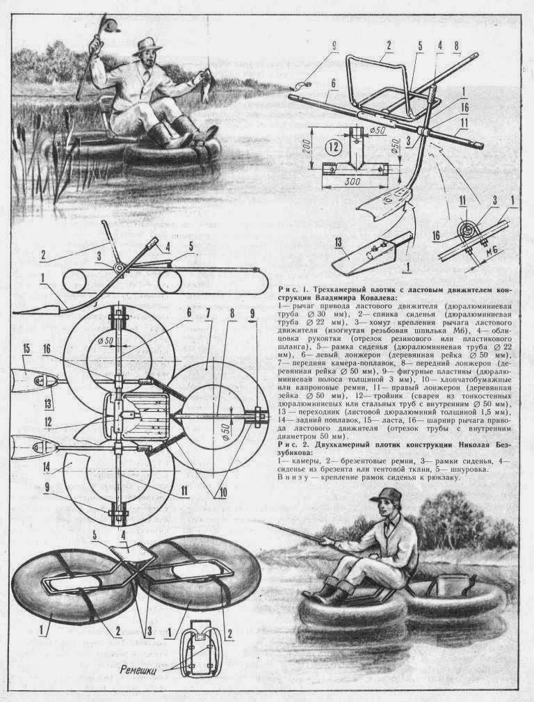 Трехкамерный плот для рыболовов