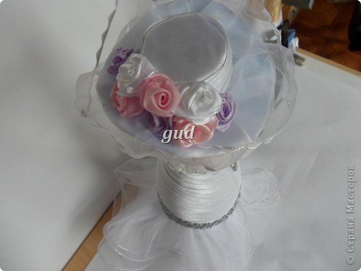 Декор предметов Мастер-класс Свадьба Аппликация Свадебные бутылочки и МК Ленты фото 20