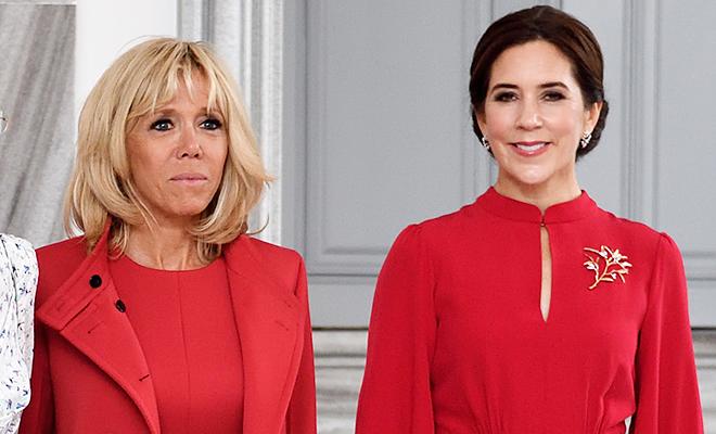 Леди в красном: принцесса Дании Мэри и Бриджит Макрон на встрече в Копенгагене