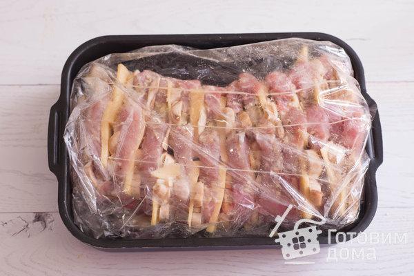 """Мясная """"Книжка"""" с грибами и сыром в духовке (Мясная """"Гармошка"""") фото к рецепту 7"""