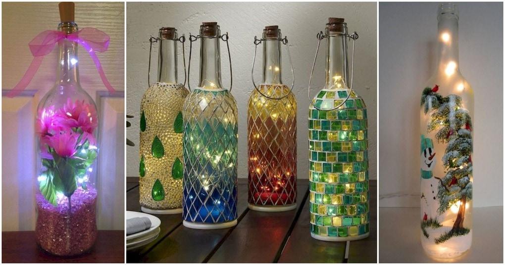 Интересное украшение стеклянных бутылок