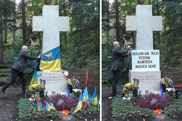 Грэм Филлипс прогнал украинских наци с шабаша на могиле Бандеры