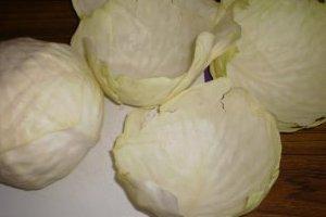 Если капуста белая, по снятые листы нужно по краю обрезать ножницами, для окрашивания.