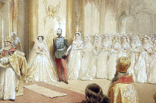 Александр II с женой Марией Александровной на фоне толпы фрейлин и великих княгинь