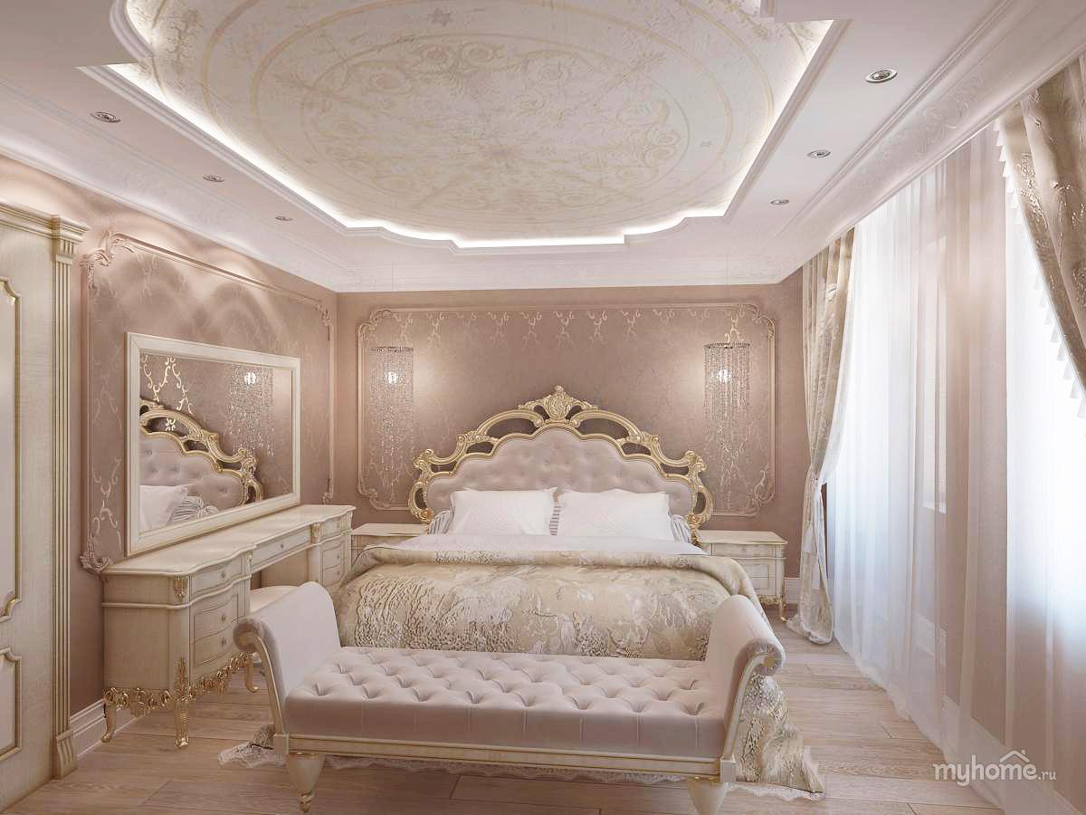 Дизайн спальни в классическом стиле в фото