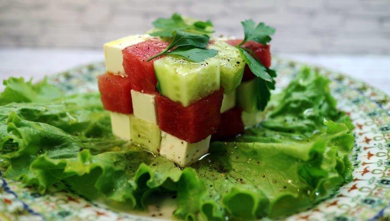 Ингредиенты: арбуз, видео рецепт, еда, кулинария, рецепт, салат
