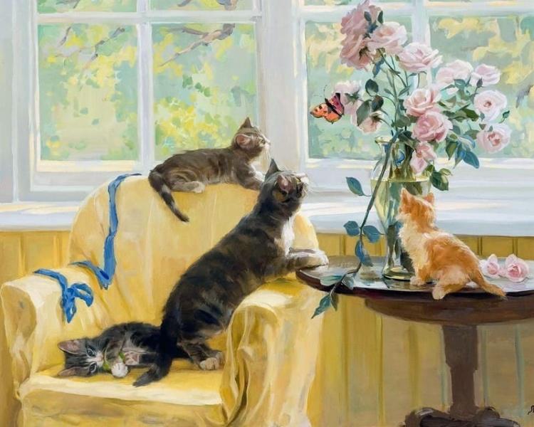 художник Святослав Новосадюк.  И летний сад, и кошка на окошке
