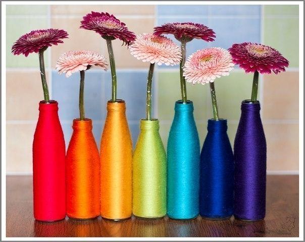 Радужные вазы из бутылок. МК