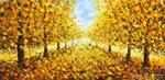 Осенний пейзаж: Вальс осени в городском Парке. Городской осенний пейзаж маслом. Живопись мастихином.