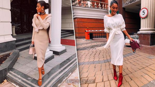 Стильная осень с русской модницей — Ирмой: 11 идей, как носить теплое платье в холода