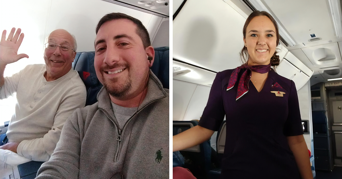 This Stewardess Was Working During Christmas, So Her Dad Booked 6 Flights To Be Together