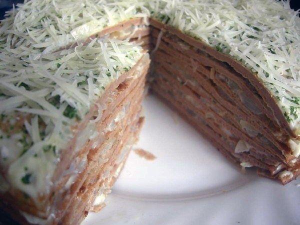 Печеночный торт-вкусная закуска на праздничный стол
