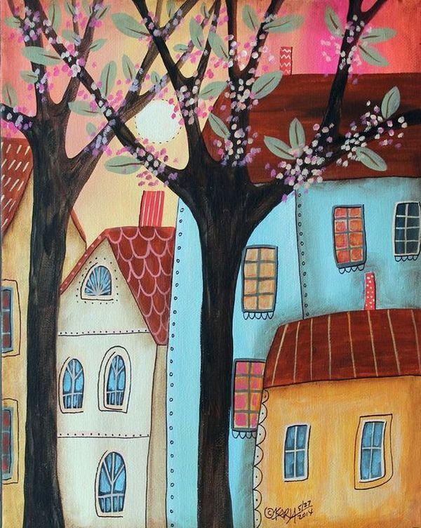Яркие и красочные пряничные домики художницы Karla Gerard