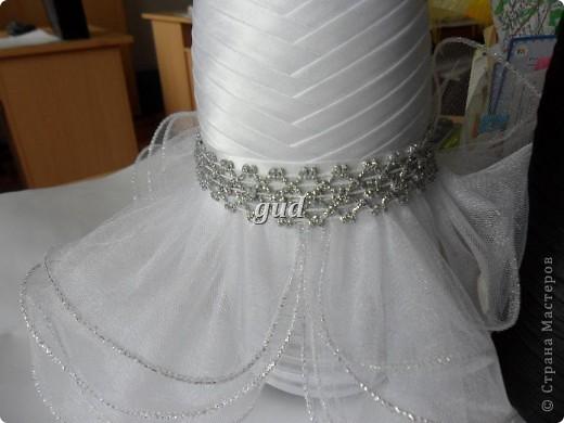 Декор предметов Мастер-класс Свадьба Аппликация Свадебные бутылочки и МК Ленты фото 24