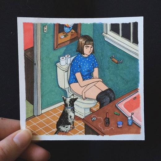 43 иллюстрации о том, что делают девушки, когда никто не смотрит