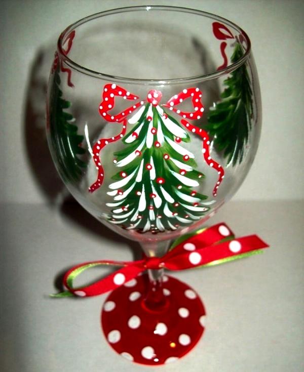 как украсить новогодний бокал