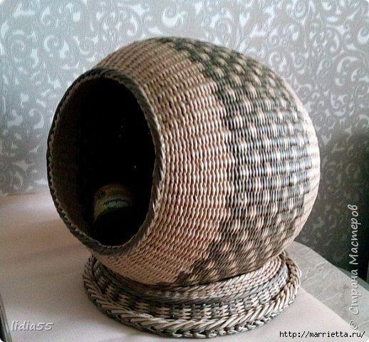 Шар из газетных трубочек - домик для кошки своими руками
